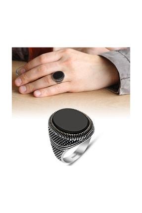 Tesbihane İnce İşçilikli Siyah Oniks Taşlı 925 Ayar Gümüş Erkek Yüzük 65020077