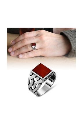 Tesbihane Zincir Tasarım Kırmızı Akik Taşlı 925 Ayar Gümüş Erkek Yüzük 102000576