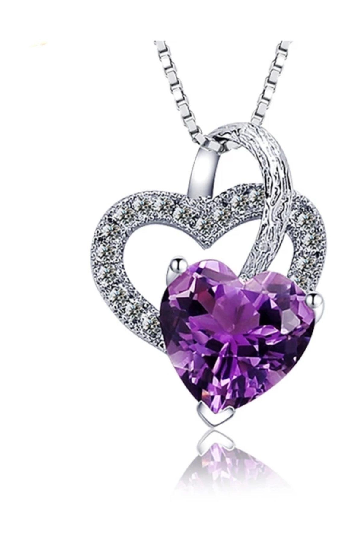 Enesstore Gümüş Ametist Taşlı Çift Kalp Kadın Gümüş Kolye 1