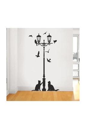 KT Decor Sokak Lambası Kuşlar Ve Kediler Duvar Sticker