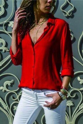 FancyWorld Düz Renk Dokuma Viskon Kumaş Efsane Basic Gömlek Kırmızı