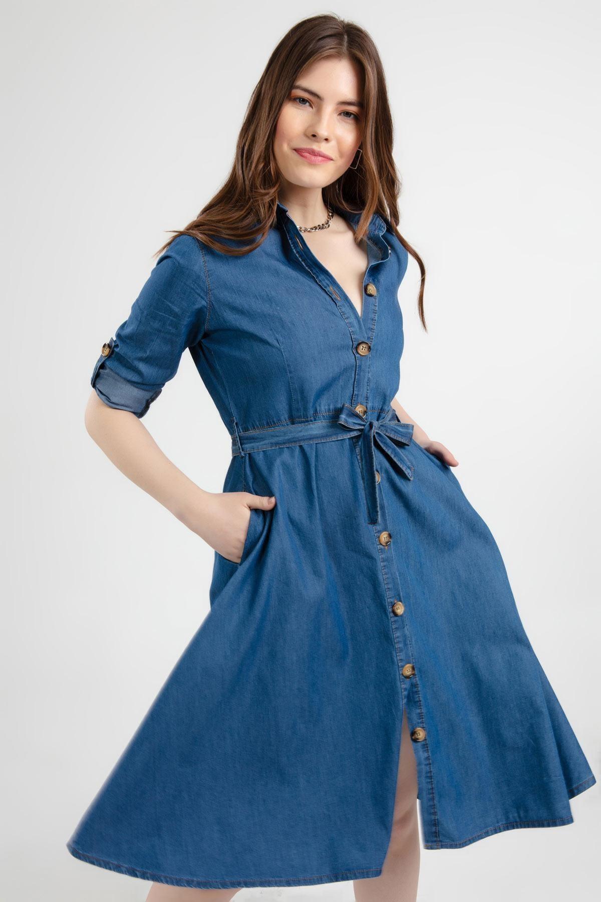 Pattaya Kadın Mavi Kuşaklı Uzun Kollu Kot Gömlek Elbise Y20s110-1924 2