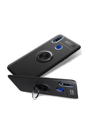 Microcase Realme 3 Pro Focus Serisi Yüzük Standlı Silikon Kılıf - Siyah