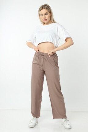 Vivoon Kadın Vizon Bol Paça Dokuma Pantolon