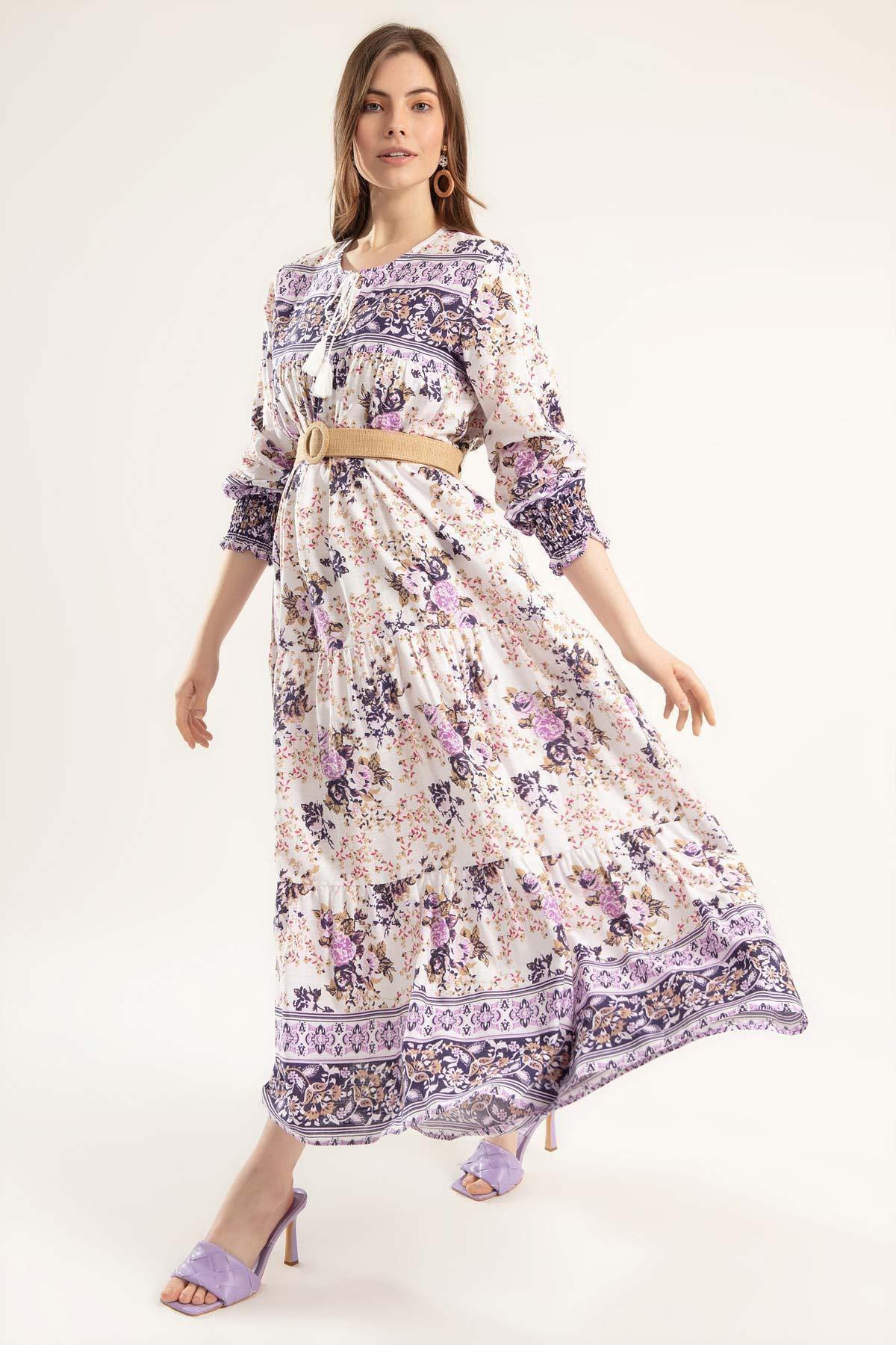 Pattaya Kadın Volanlı Çiçekli Uzun Elbise Y20s110-1947 2