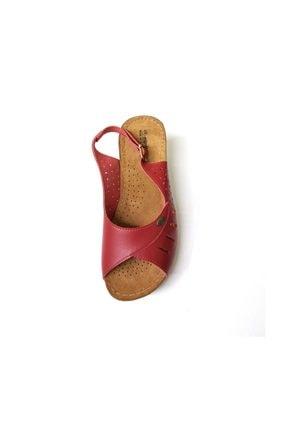 Muya Kadın Kırmızı Ortopedik Deri Sandalet  24280