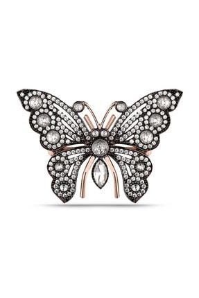 MySilvers Elmas Montür  Kelebek Broş Kadın Rose Zirkon