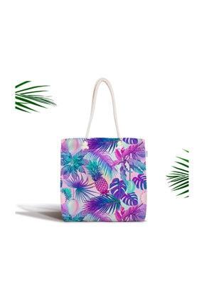 Realhomes Mavi Zeminde Tropikal Objeler Modern Fermuarlı Kumaş Çanta Canta-3160