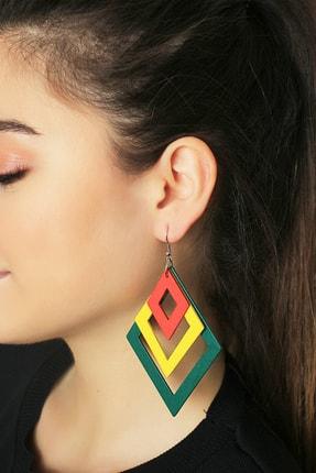 TAKIŞTIR Kadın Çok Renkli Geometrik Figürlü Tahta Küpe