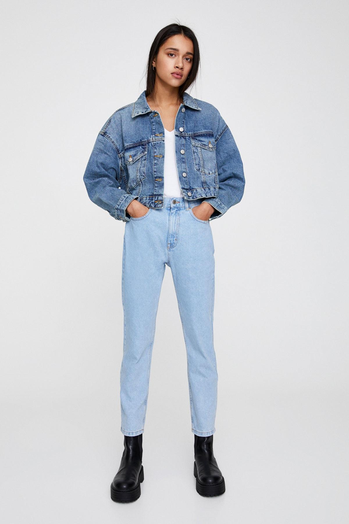 Pull & Bear Kadın Soluk Mavi Basic Mom Fit Jean 05682310 1