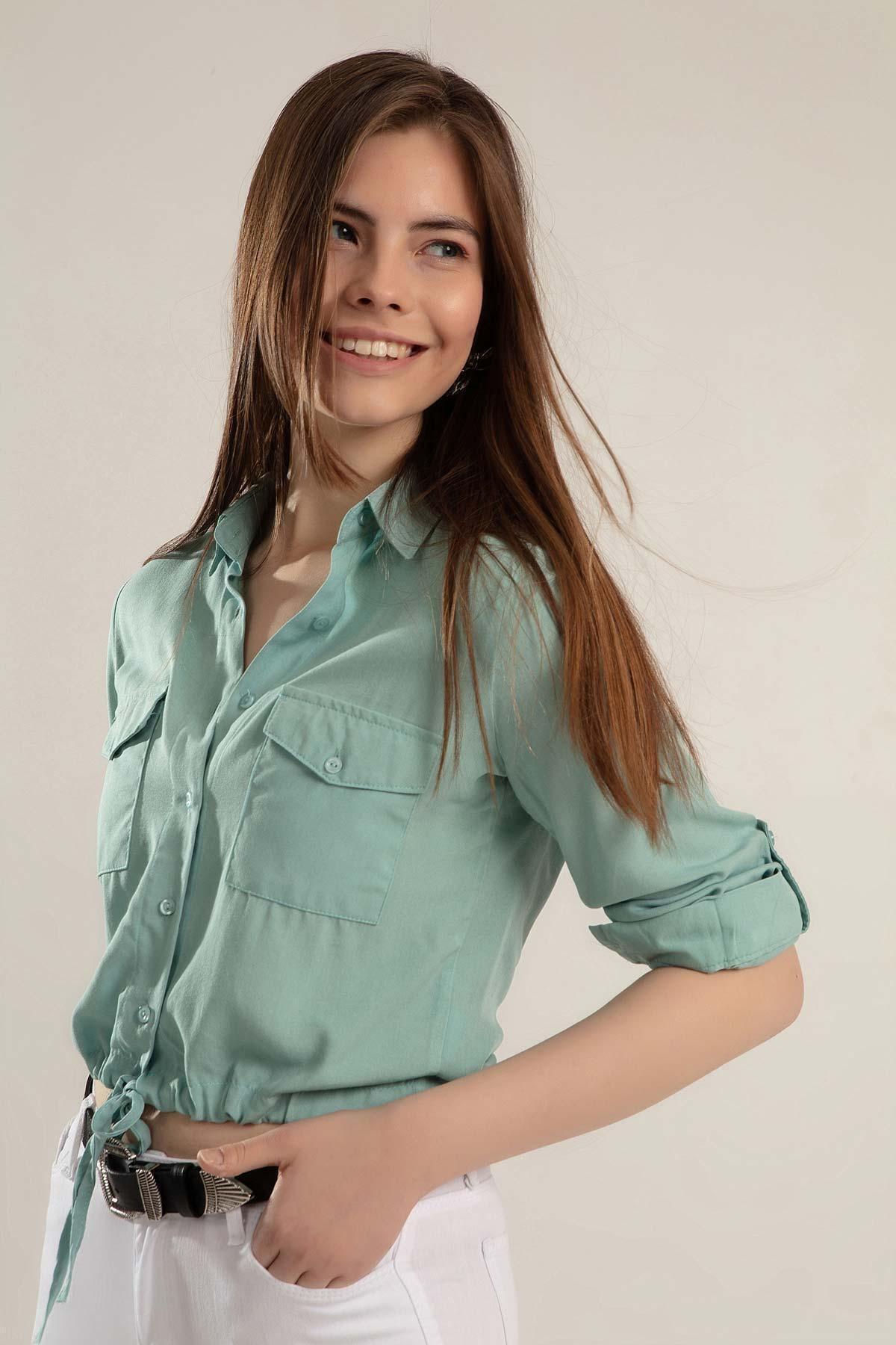 Pattaya Kadın Önü Bağlamalı Crop Gömlek Y20s110-3470 2
