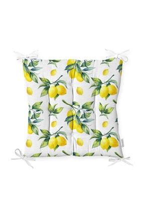 Realhomes Beyaz Zeminde Limon Desenli 3d Pofidik Kare Sandalye Minderi