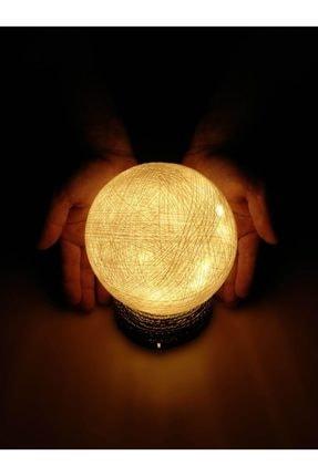 CajuArt Dekoratif El Yapımı Led Işıklı Top Masa Lambası Abajur Pilli Led