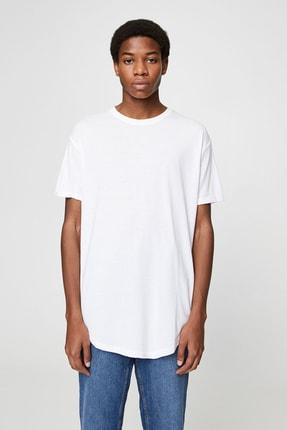 Pull & Bear Erkek Beyaz Uzun Basic T-Shirt 05234513