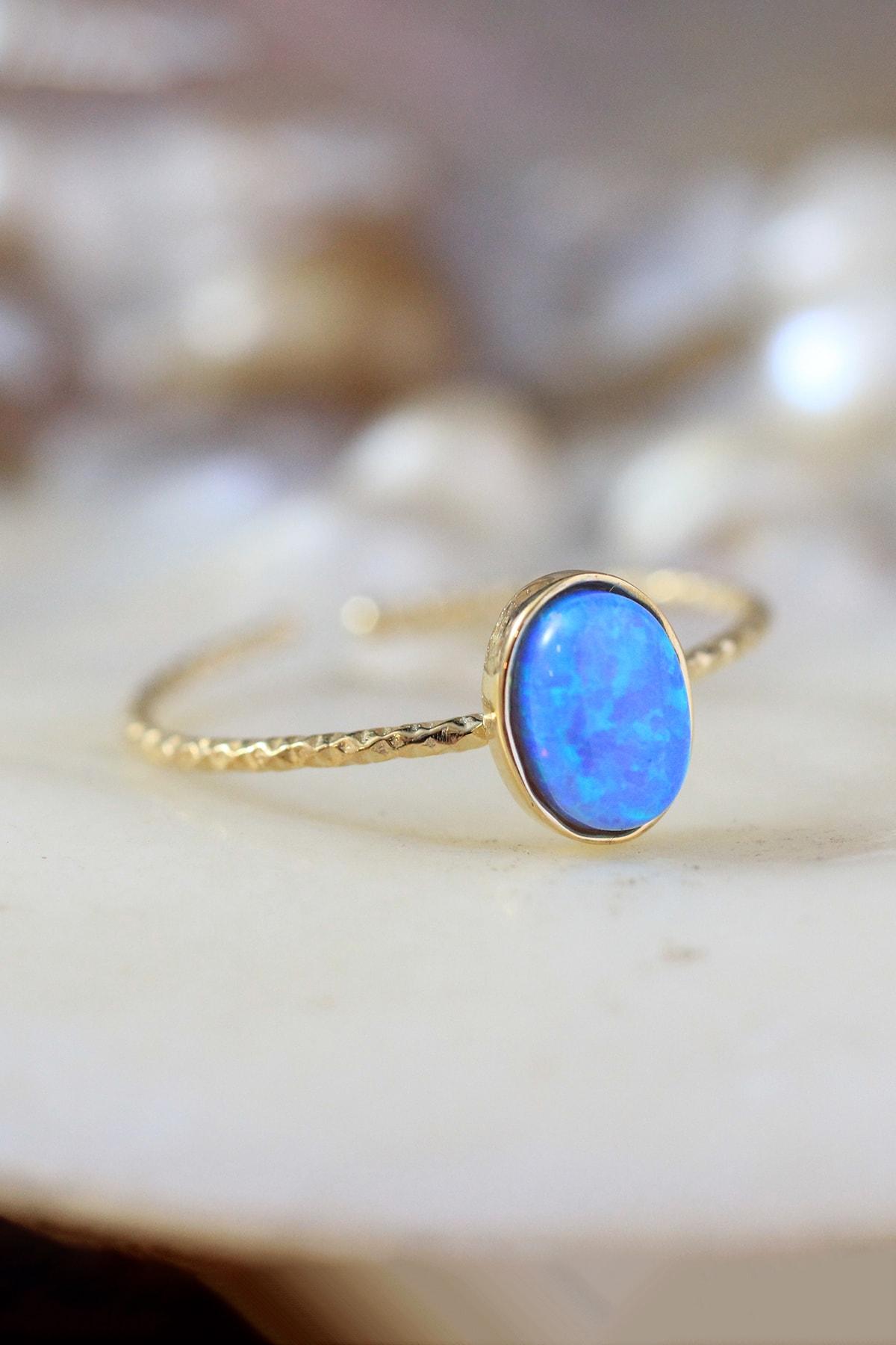 dalmarkt 925 Ayar Gümüş Üzeri Altın Kaplama Ayarlanabilir Açık Mavi Opal Taşlı Yüzük