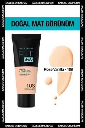 Maybelline New York Mat Fondöten - Fit Me Matte + Poreless Foundation 108 Rose Vanilla 3600531550967