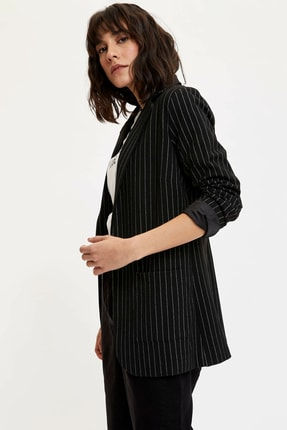 DeFacto Kadın Siyah Çizgili Ceket N6856AZ.20SP.BK27