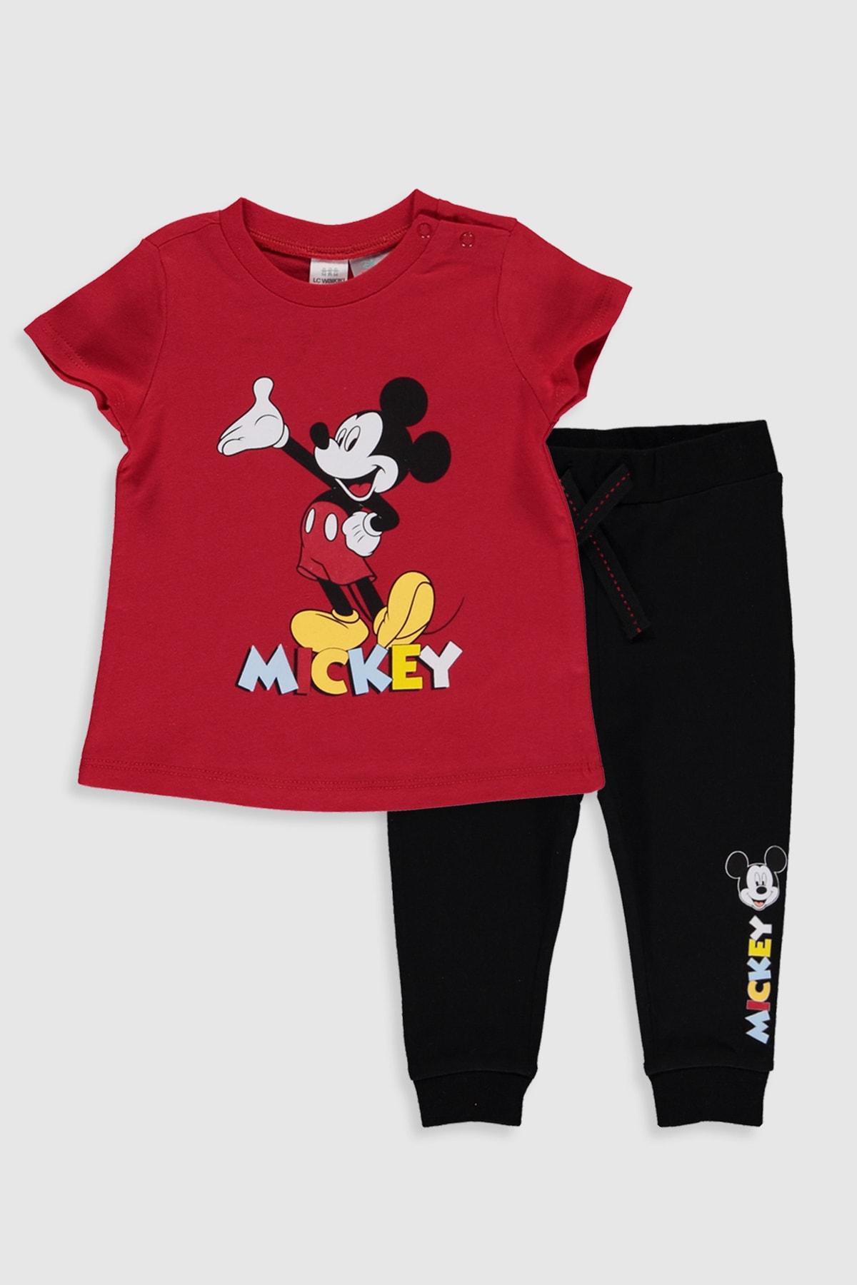 LC Waikiki Mickey Mouse Erkek Bebek Kırmızı Hpf Bebek Takımları 1