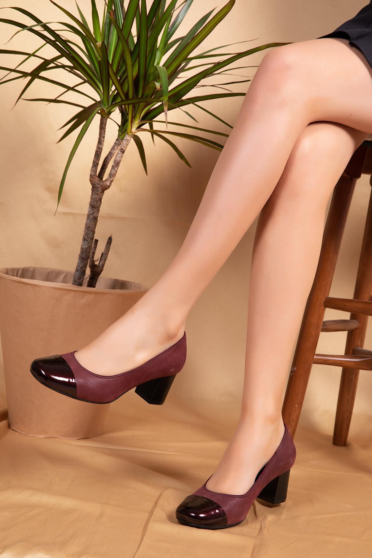 Gondol Ebru Comfort Hakiki Deri Klasik Topuklu Ayakkabı 1