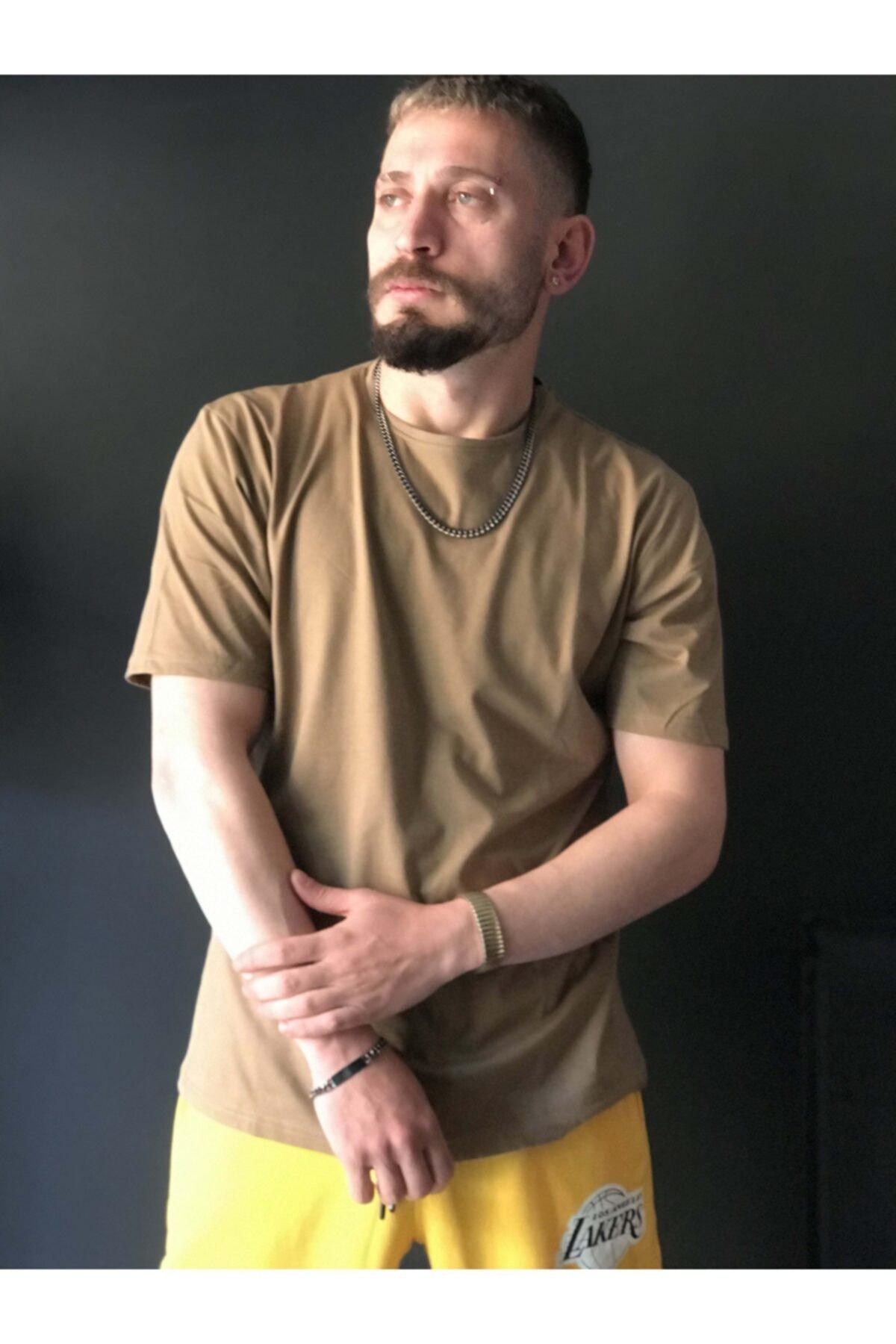 EmekGelinlikEvi Unisex Zeytin Yeşili Düz OversizeT-shirt 2