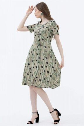 Sementa Kadın Yeşil Çiçek Desenli Gömlek Elbise