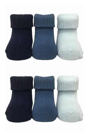 GLOSS Çorap 6'lı Bebek Çorabı Organik Penye Pamuk - Dikişsiz / Hijyenik Yıkamalı - Taban Abs Baskılı