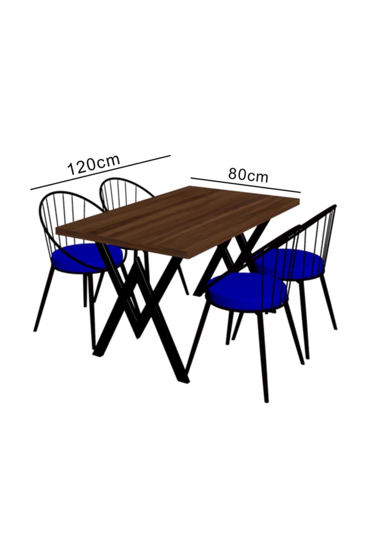 Evdemo Eylül 4 Kişilik Mutfak Masası Takımı Siyah Mavi 2