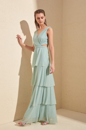 TRENDYOLMİLLA Mint Işıltılı Fırfır Detaylı Abiye & Mezuniyet Elbisesi TPRSS20AE0063