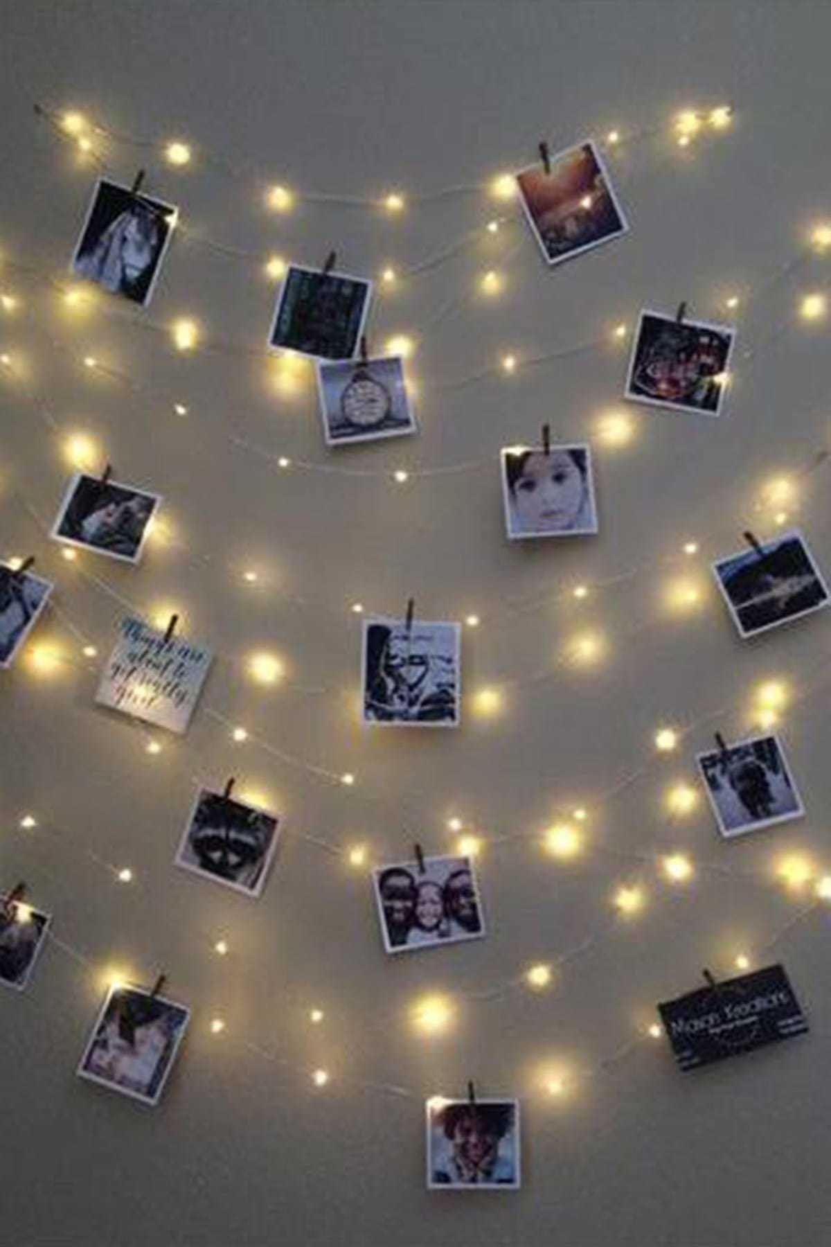Parti dolabı 3 Metre Peri Led Işık 15 Adet Küçük Mandal Fotoğraf Asma Seti Anı Duvarı Set