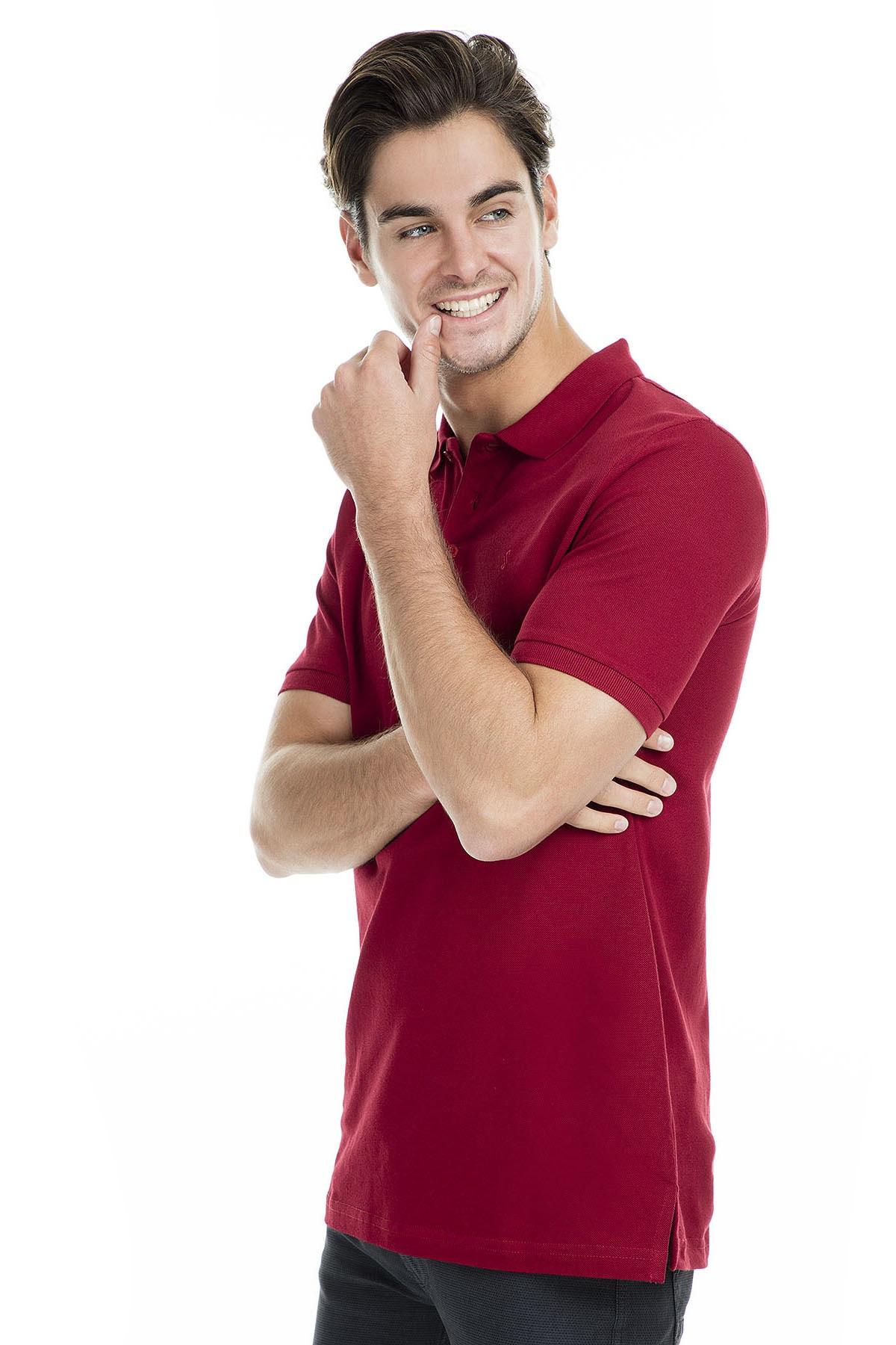 Sabri Özel Erkek Bordo Polo Yaka T-Shirt - T446688