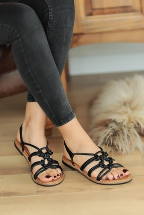 Pembe Potin Siyah Kadın Sandalet A2072-20