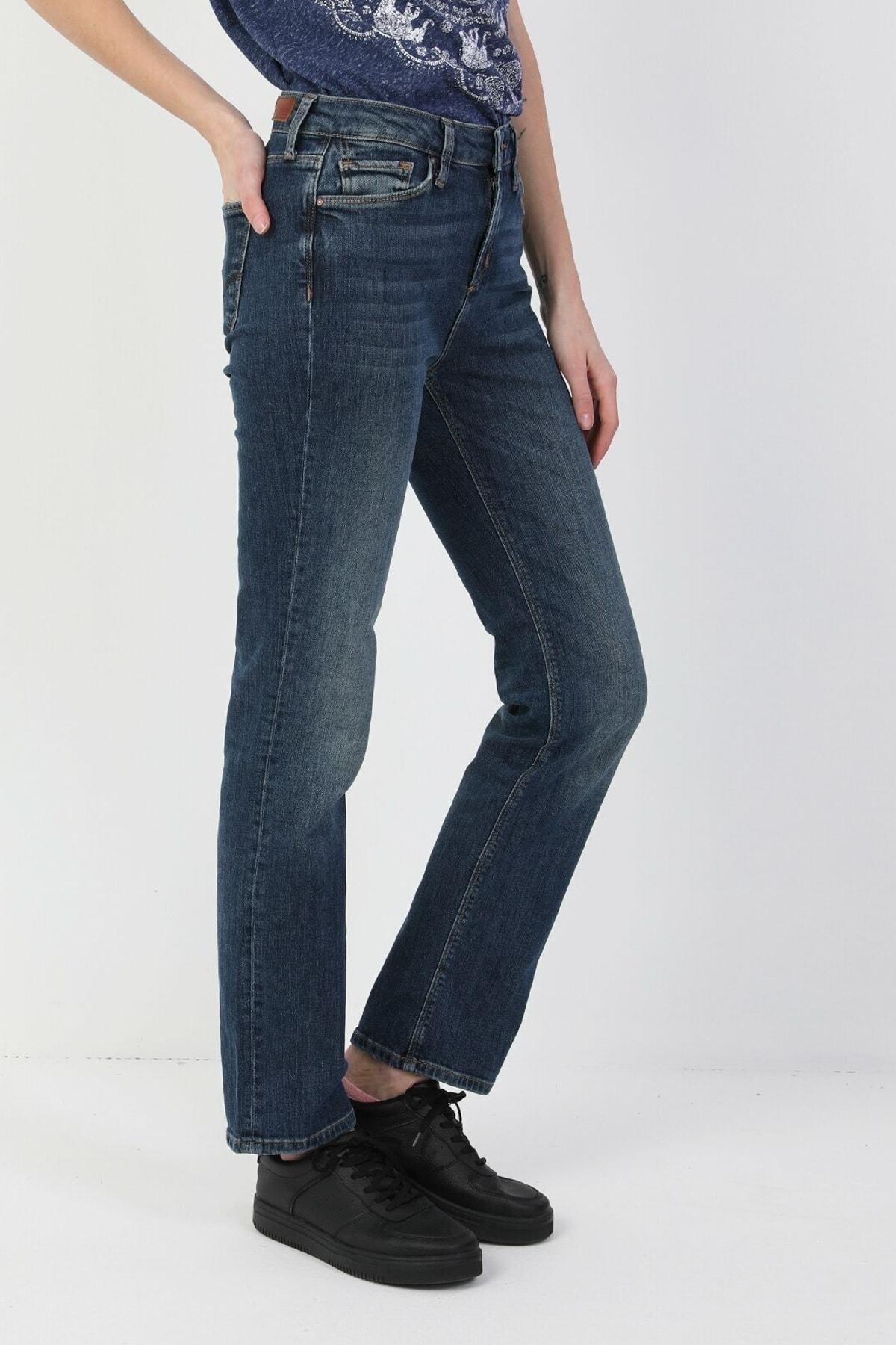 Colin's 792 Mila Normal Kesim Normal Bel Düz Paça Mavi Kadın Pantolon CL1048932 1