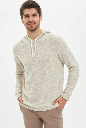 DeFacto Erkek Beyaz Kapüşonlu Regular Fit Sweatshirt M7862AZ.20SP.WT33