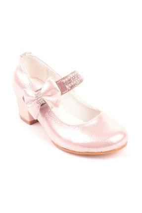 Akıllı Şirin Kız Çocuk Pembe Taş Işlemeli Topuklu Ayakkabı