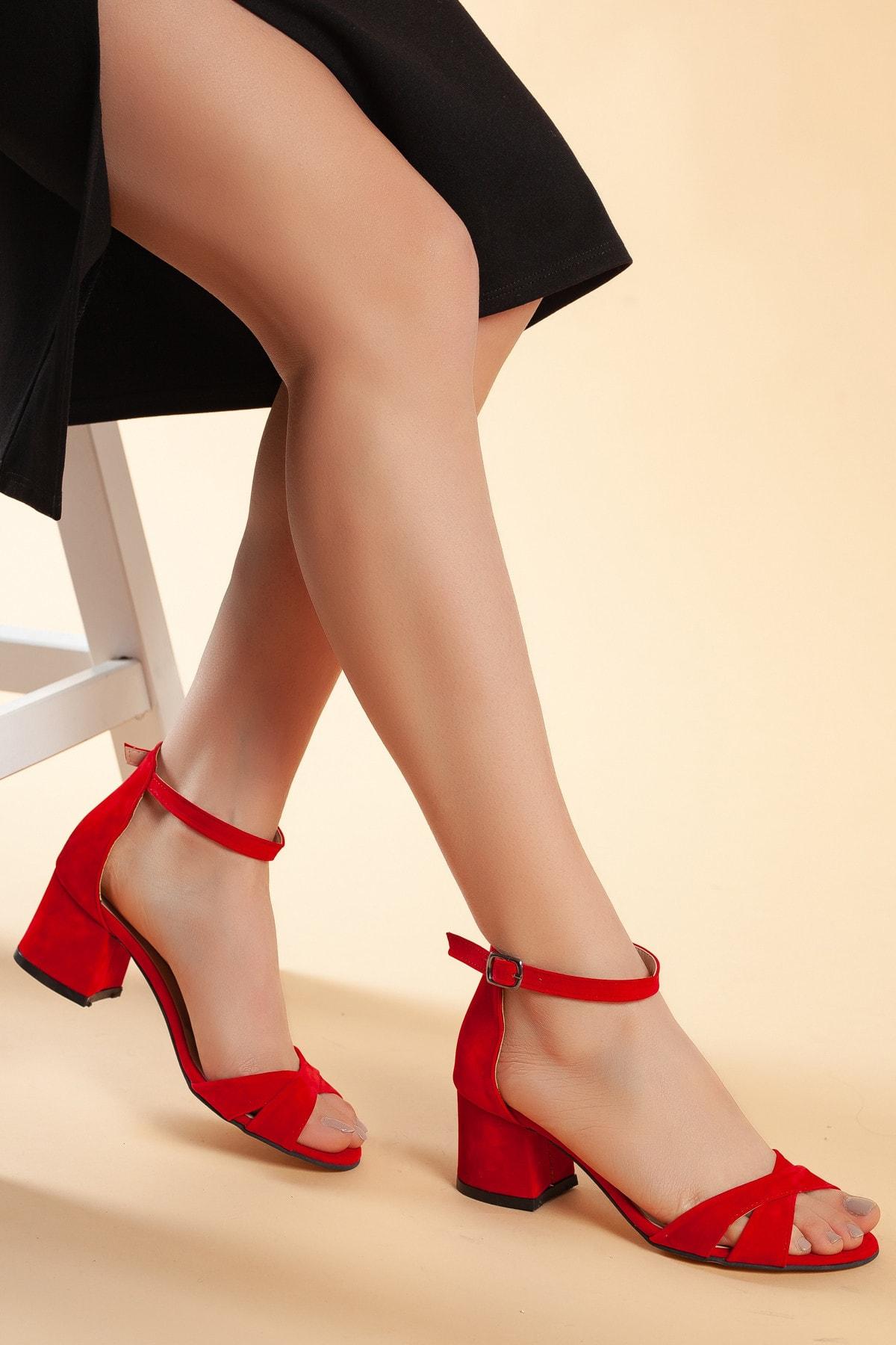 Daxtors Kırmızı-Süet Kadın Ayakkabı DXTRFLRN204