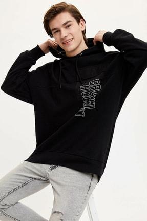 DeFacto Erkek Siyah Kapüşonlu Oversize Sweatshirt N6978AZ.20SP.BK27