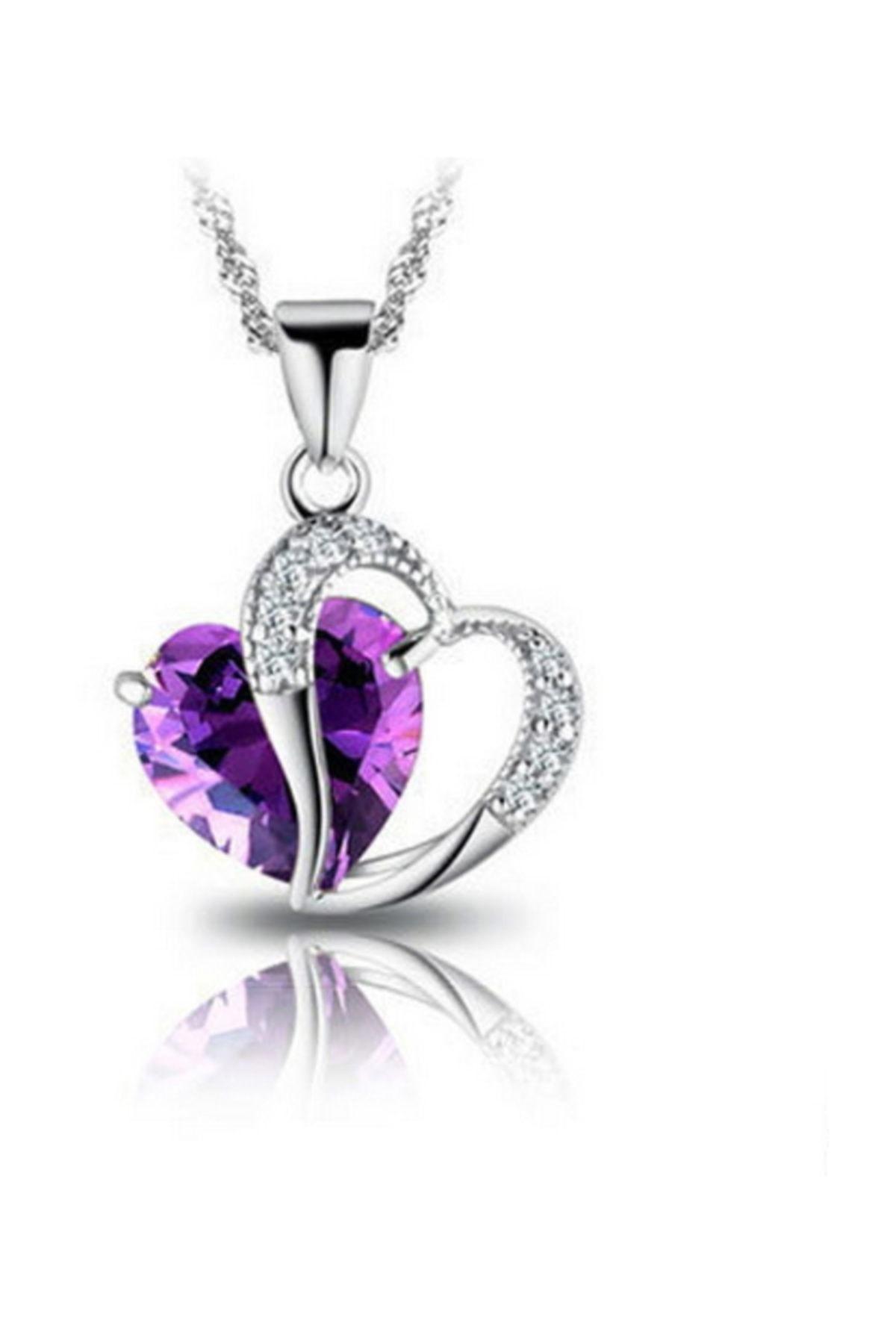 Enesstore Gümüş Kolye Ametist Taşı Kalp Kadın Kolye 1