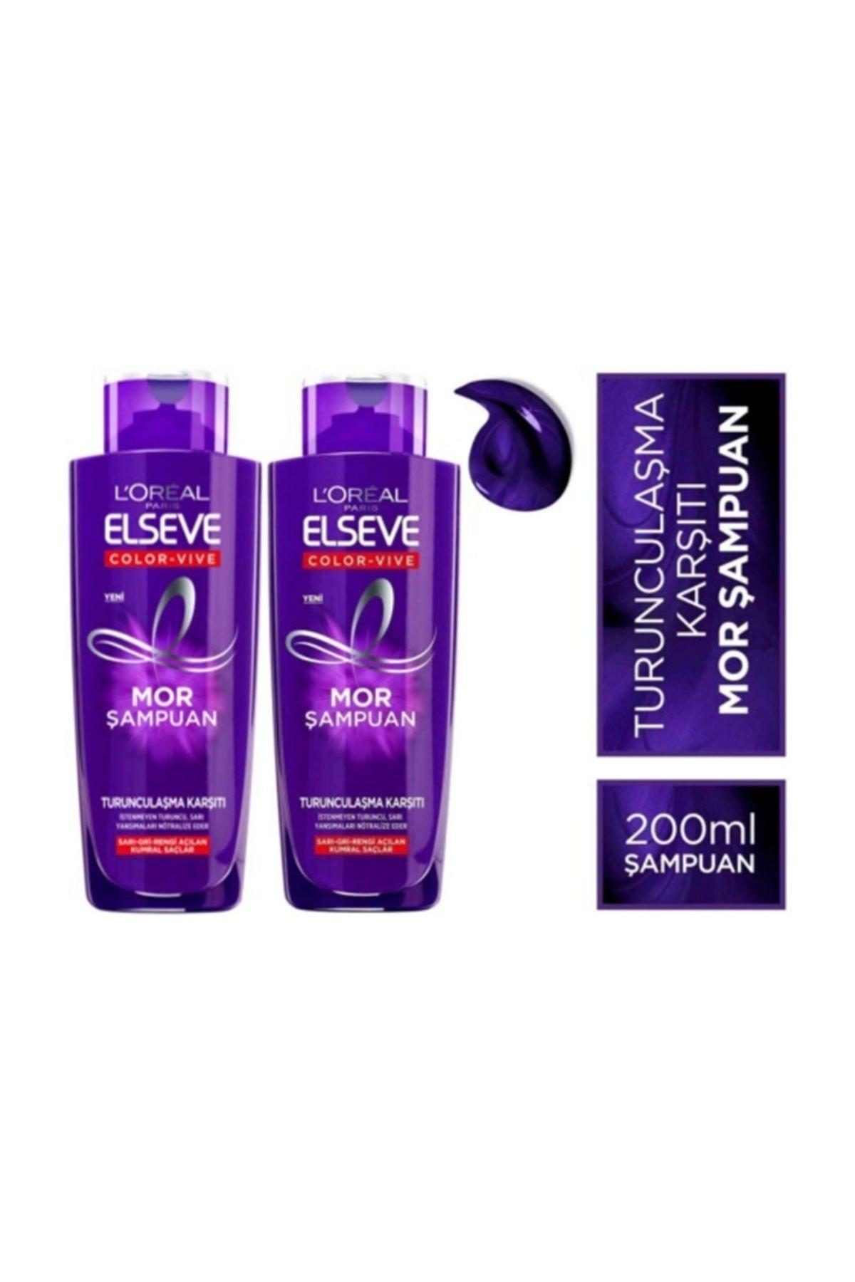 ELSEVE L'oréal Paris  Turunculaşma Karşıtı Mor Şampuan 200ml X 2 Adet 1