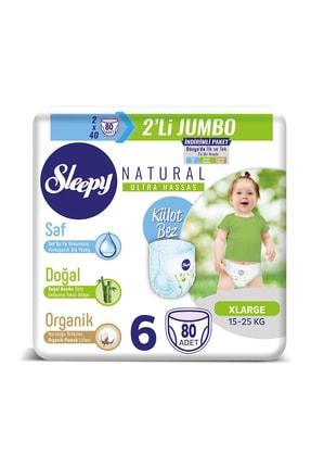 Sleepy Natural Külot Bez 6 Beden Xlarge 2x2'li Jumbo 80 Adet