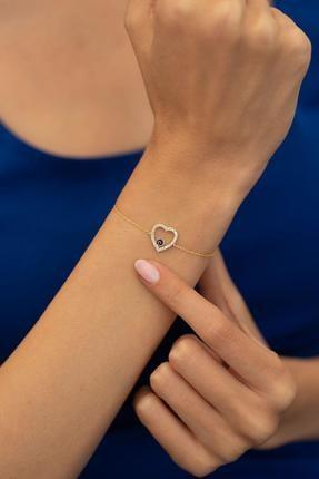 İzla Design Kalp Ve Nazarlık Model Altın Kaplama Gümüş Italyan Bileklik
