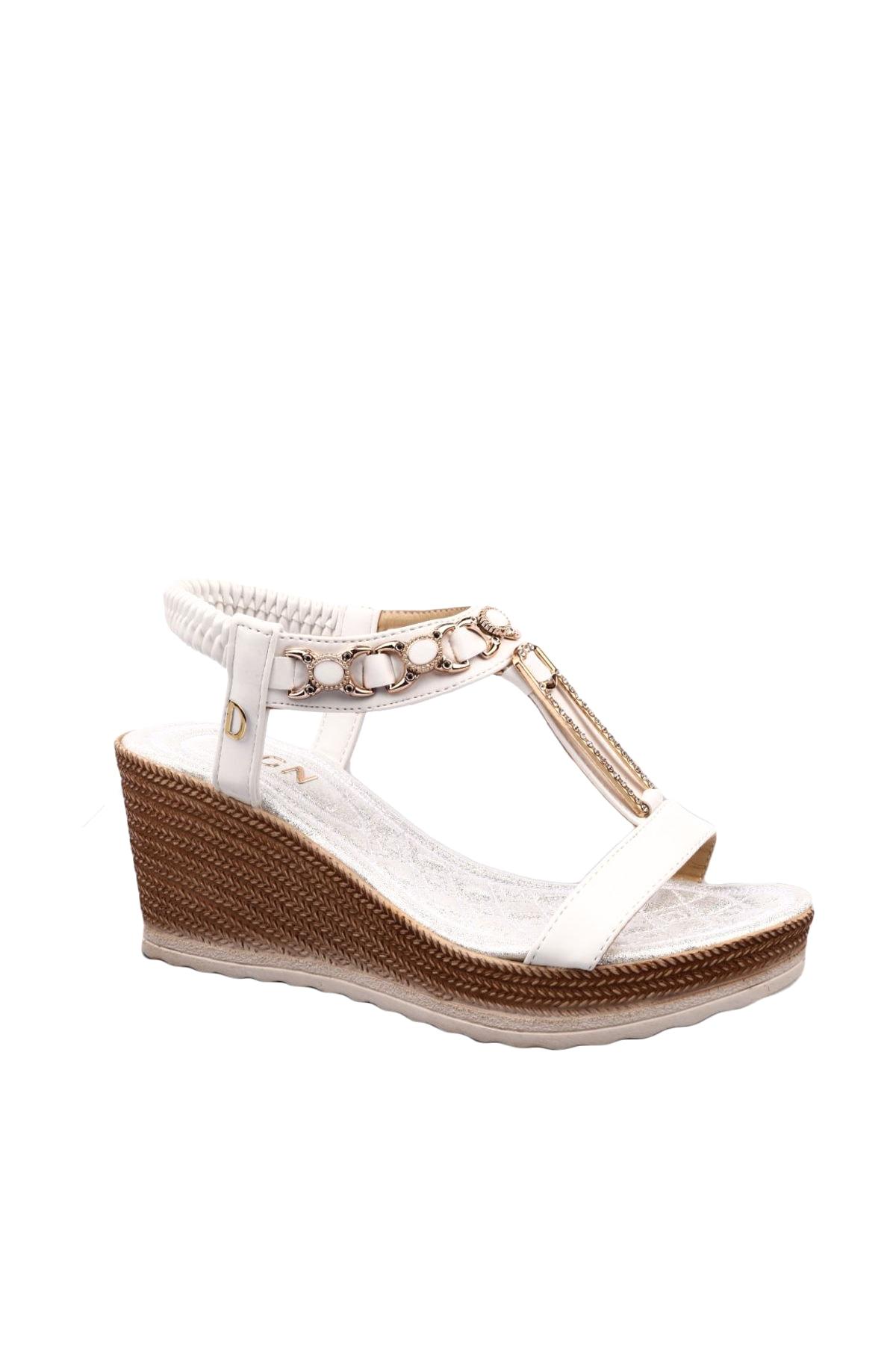 DGN Beyaz Kadın Sandalet 1