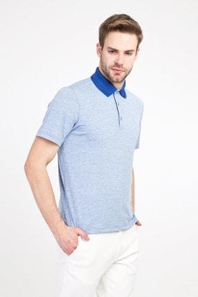 Kiğılı Erkek Mavi Polo Yaka Regular Fit Desenli Tişört