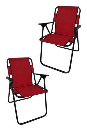 Bofigo 2 Adet Kırmızı Katlanır Kamp - Piknik - Plaj Sandalyesi
