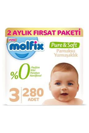 Molfix Pure&Soft Bebek Bezi 3 Beden Midi 2 Aylık Fırsat Paketi 280 Adet