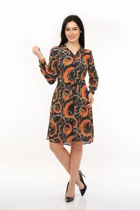 Pitti Kadın Zincir Desen Siyah Elbise 51065