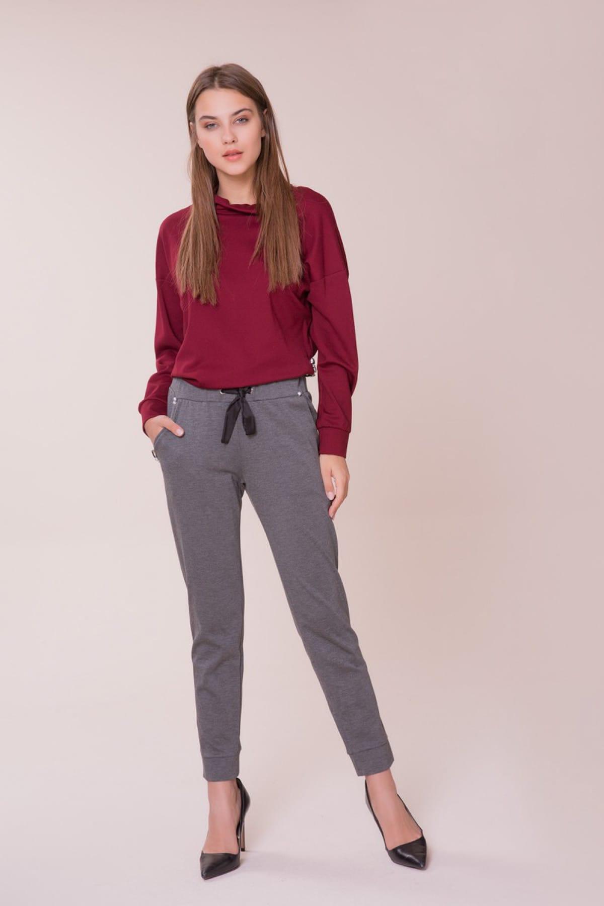GİZİA Kadın Cep Taş Detaylı Gri Spor Pantolon M18K1X01012EX 1
