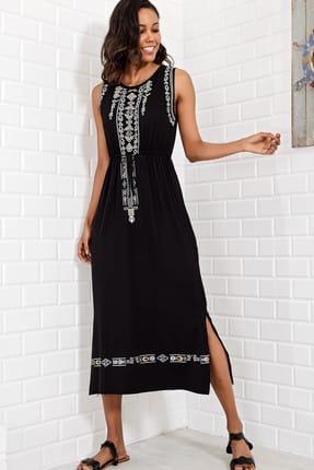 Trend Alaçatı Stili Kadın Siyah Nakış Baskılı Bohem Elbise ALC-6564