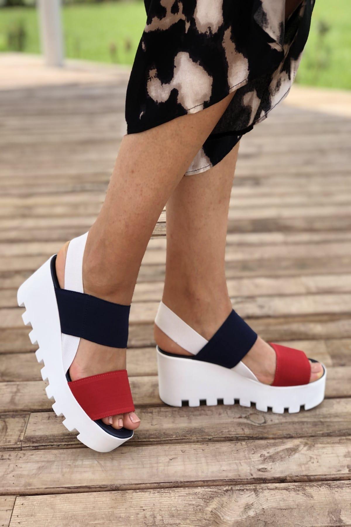 Pembe Potin Lacivert Kırmızı Kadın Sandalet A900-19 2
