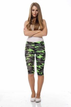 Moday Kadın Yeşil Kapri Kamuflaj Tayt 14D-0605 14D-0605