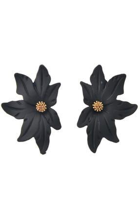 Pelin Aksesuar Siyah Yarım Çiçek Küpe